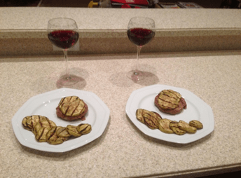 Instead of using buns, home chef Brockway used medallions of eggplant to sandwich his sliders.