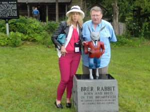 Two North Carolinians, journalist Lynne Brandon and television producer/host Carl White visit with Brer Rabbit in Eatonton, Georgia.