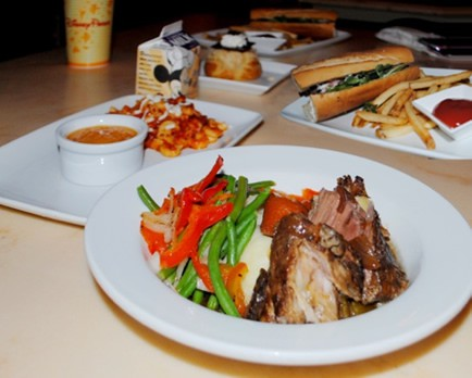Luncheon meals served in the Be Our Guest restaurant at Walt Disney World in Orlando. The restaurant re-creates scenes from the film Beauty and The Beast and invites little ones and their adult escorts to dine in three different spots in the Beast's castle. The characters from the animated movie turn up to make the experience extra-special for little ones.  Meals here are much better than average for a theme park.